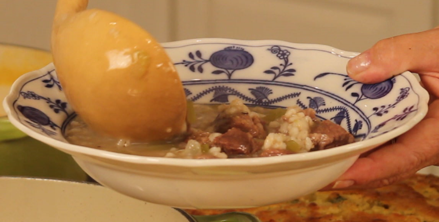 Ann Hollowell's Beef Broth and Barley Soup from The Cooking Lady